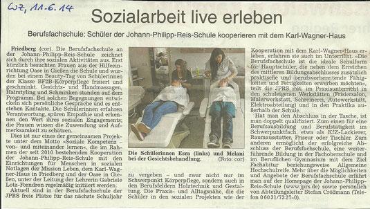 """Ein JPRS-Projekt des Fachbereichs Körperpflege unter dem Motto """"Soziale Kompetenz - von- und miteinander lernen"""""""