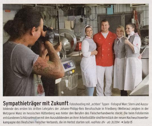 """Titelseite der """"Allgemeinen Fleischerzeitung"""" vom 30. Juli 2014."""