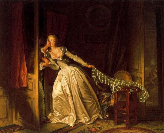 """Jean-Honoré Fragonard: """"Le Baiser à la dérobée"""", Museo de L'Ermitage, San Petersburgo"""