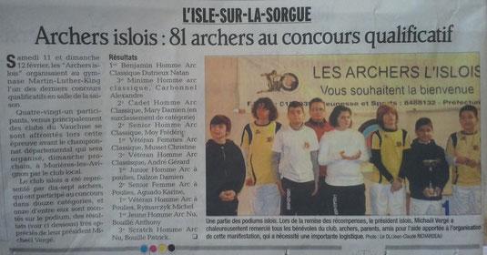 Vaucluse matin, le 14/02/2012