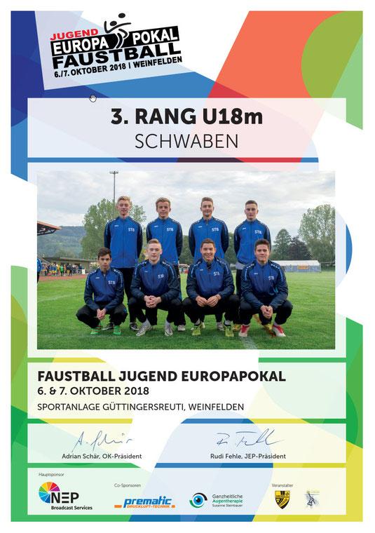 STB-Team U18 männlich beim Jugend Europapokal 2018 in Weinfelden CH