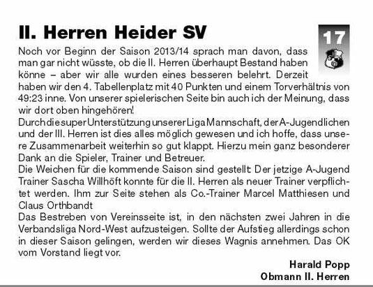 Aus dem Stadionblatt vom 17. April 2014