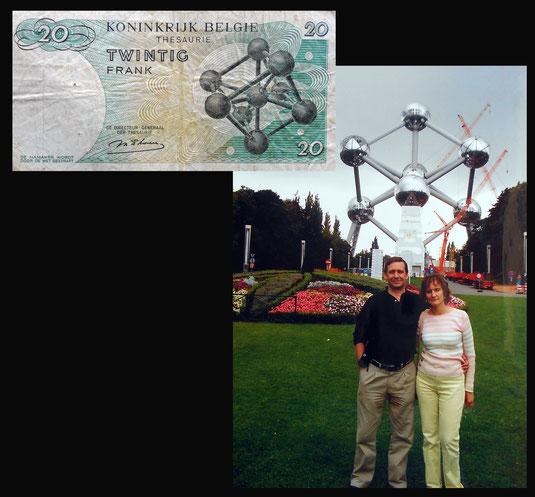 El Atomium de Bruselas en el billete de 20 francos de Bélgica de 1964