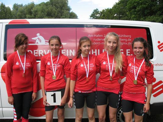 Sieger im Vierer bei den Kinder- und Jugendspielen in Brandenburg am 15. Juni 2014
