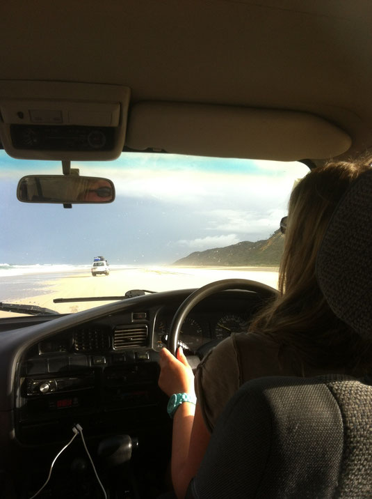 Meine allererste Strand-Fahrt und auch meine erste Autofahrt mit Automatik - es war sau cool :-)