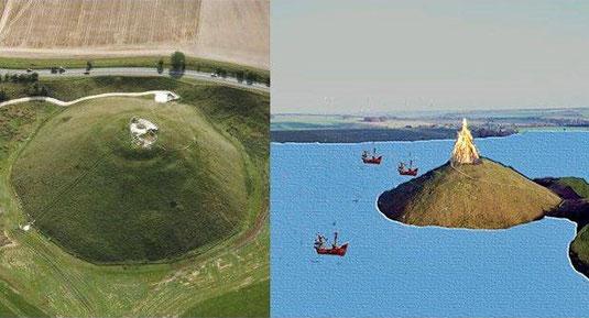 A gauche : Silbury Hill de nos jours, à droite : interprétation de Silbury Hill au néolithique