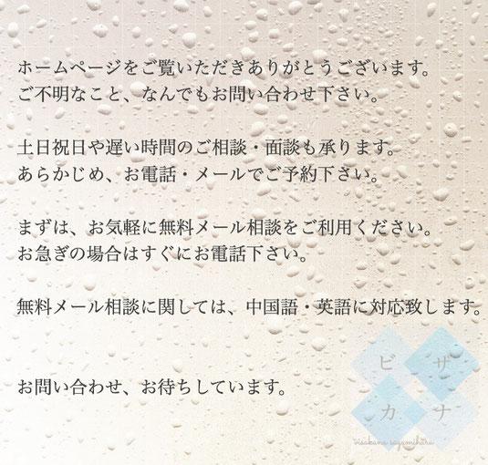 入国管理局に対してする在留資格(VISAビザ)申請・法務局に対してする帰化許可(日本国籍取得)手続きをサポートします。相談無料・神奈川県相模原市南区・外国人の在留資格ビザ申請・帰化申請サポート専門の行政書士事務所「ビザカナ相模原」VISAKANA SAGAMIHARA「神奈川県全域・相模原・横浜・川崎・東京」対応・メール無料相談は英語・中国語に対応します。