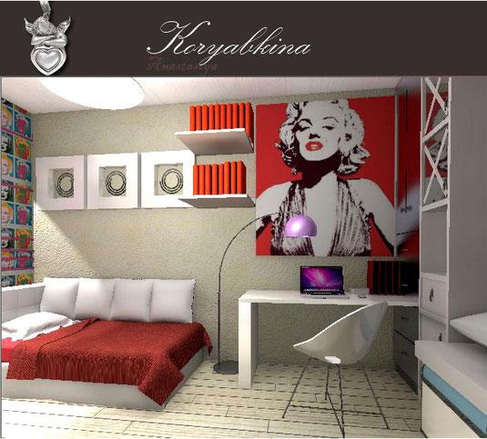 Детская комната для девочек в стиле поп арт