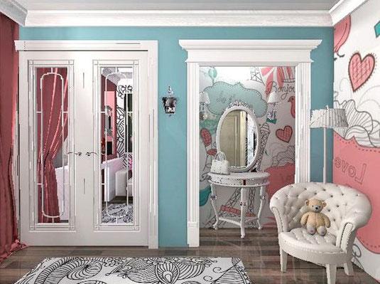 Мини будуар и микрогардеробная в дизайне комнаты для девочки подростка