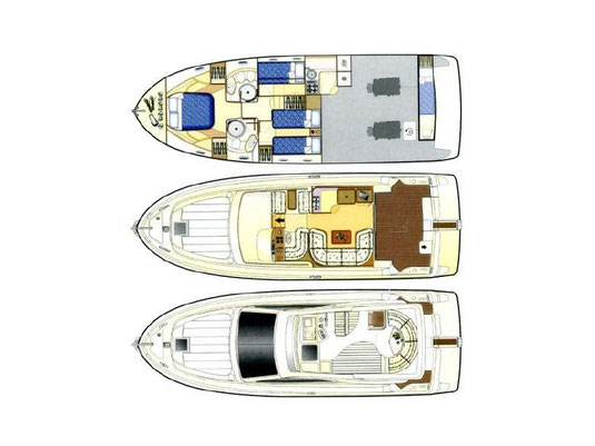 Raumaufteilung Motoryacht Feretti 43 Fly