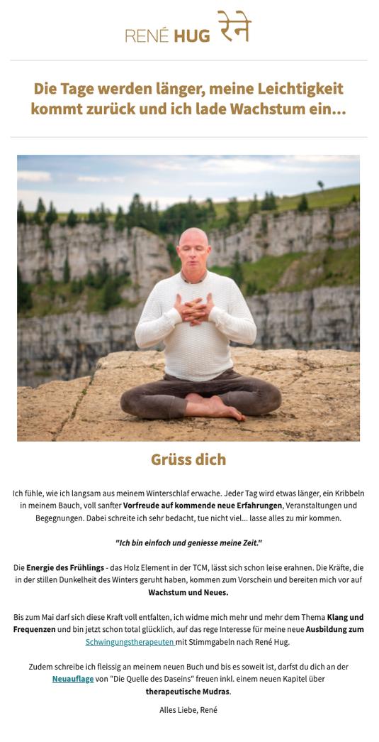Newsletter Rene Hug Yin Yoga