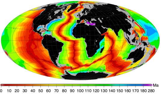 Ages des fonds océaniques. Sources: ENS Lyon, Planète Terre.
