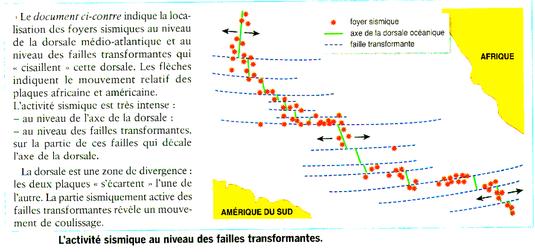 Détails des séismes au niveau des failles transformantes des dorsales. Cliquer sur l'image pour l'agrandir.