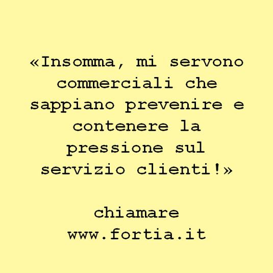 «Insomma, mi servono commerciali che sappiano prevenire e contenere la pressione sul servizio clienti!»  chiamare www.fortia.it