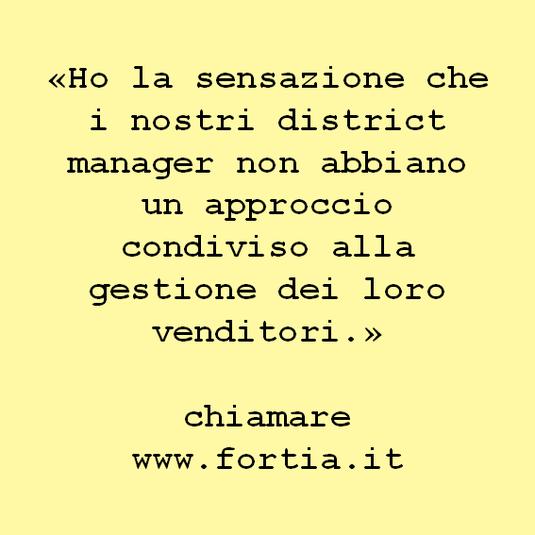 «Ho la sensazione che i nostri district manager non abbiano un approccio condiviso alla gestione dei loro venditori.»  chiamare www.fortia.it
