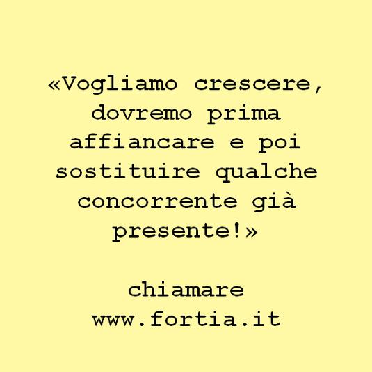 «Vogliamo crescere, dovremo prima affiancare e poi sostituire qualche concorrente già presente!»  chiamare www.fortia.it