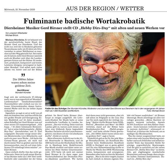 Mittelbadische Presse 18. November 2020