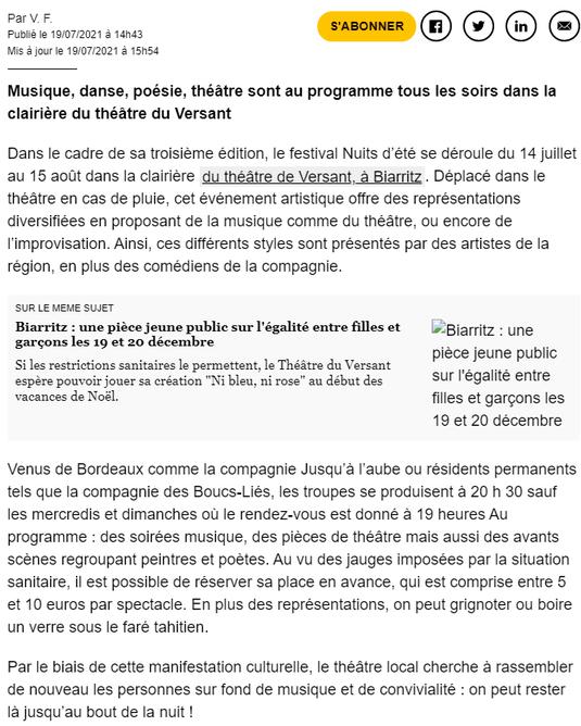 Théâtre du Versant - Biarritz - Festival théâtre nuit d'été - Sud Ouest