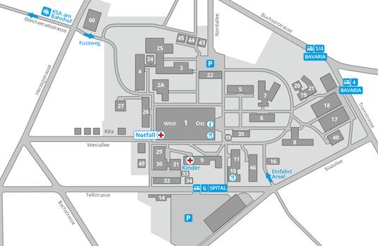 Arealplan Kantonsspital Aarau