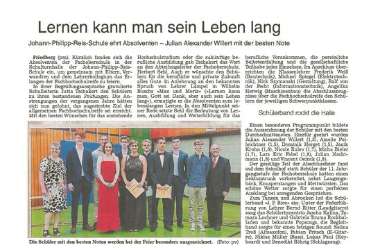Artikel aus der Wetterauer Zeitung (Ausgabe 14.07. 16)