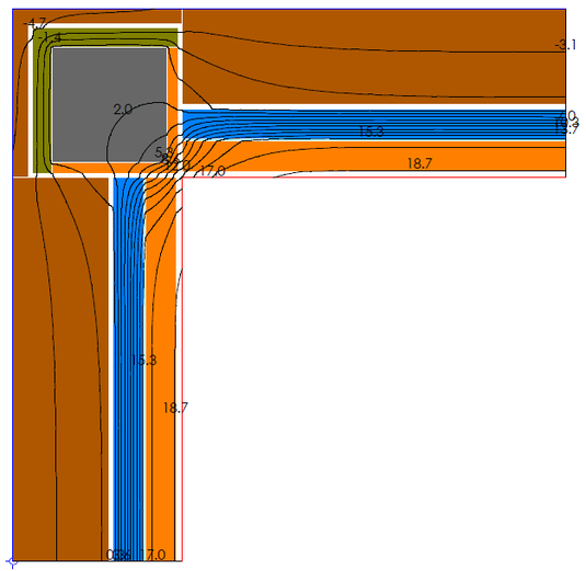 Calcolo numerico di un ponte termico d'angolo effettuato mediante software Therm