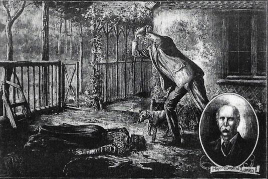 Luard findet die Leiche seiner Gattin auf der Veranda des Sommerhauses