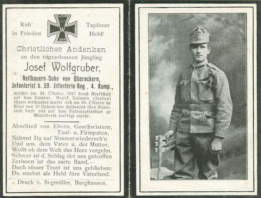 Sterbebild Erster Weltkrieg Rombon Bovec Flitsch