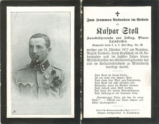 Sterbebild Erster Weltkrieg Rombon