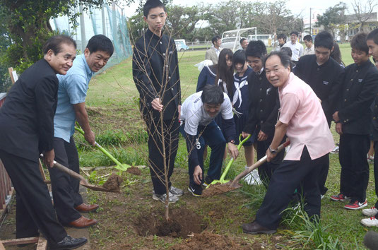 高さ1㍍60㌢ほどの宇宙桜の苗木を関係者が植樹。生徒も生きいきと作業した=名蔵小中学校