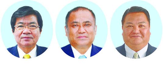 右から大浜一郎氏(50)、砂川利勝氏(48)、高嶺善伸氏(61)=50音順