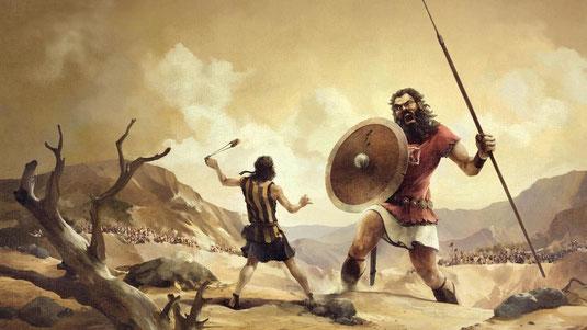 David en Goliath. Dit verhaal staat in de Bijbel in het boek I Samuel 17
