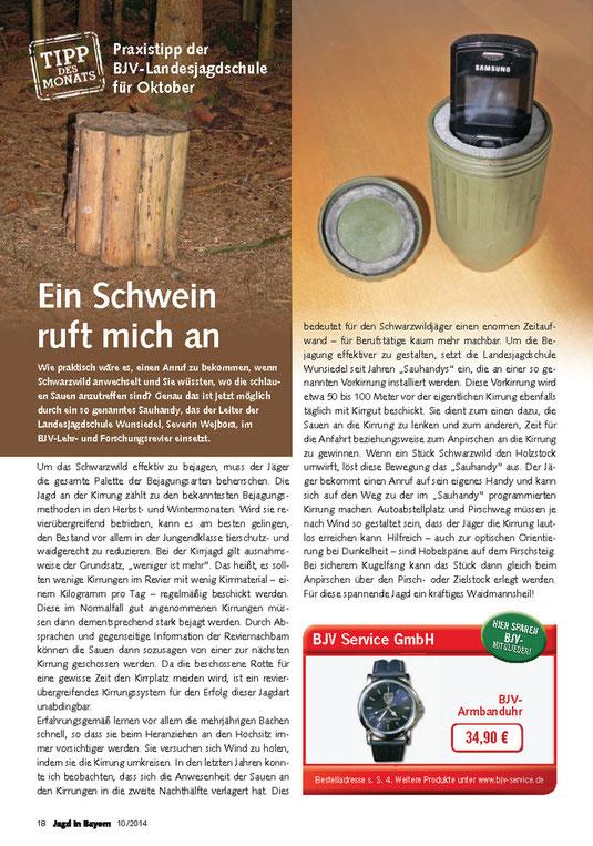 Quelle: Jagd in Bayern  - BJV Fachzeitschrift Ausgabe 10/2014