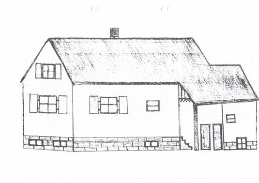 Siedlerhaus Obere Reihe – Zeichnung von Siedlerkind Wilhelmine Gauer (Tochter von Heinrich Gauer und Maria Schweißthal) aus Siedlung 19