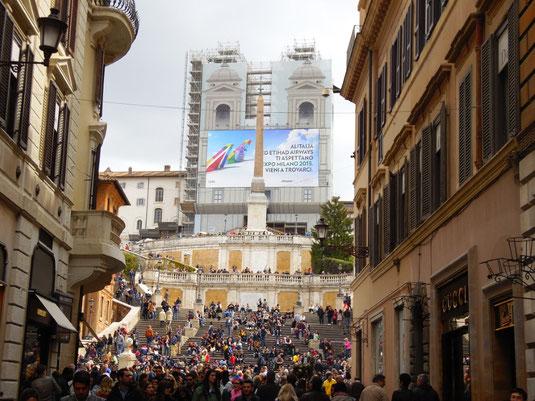 Italien, Rom, Die Spanische Treppe in Rom: Piazza di Spagna, Obelisk Sallustiano