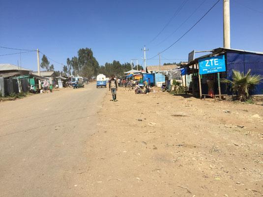 Der Ort Gashena auf dem Weg von Bahir Dar nach Lalibela
