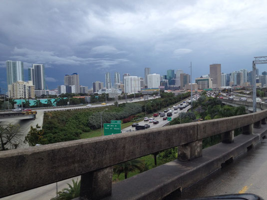 Florida, Miami, Highway, Skyline, Verkehr