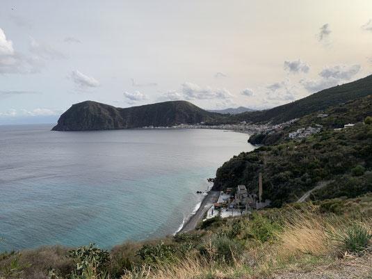 Italien, Sizilien, Liparische Inseln, Äolische, Lipari, Sehenswürdigkeit, schwarzer Strand, Sandstrand, Vulkan, Schwefel, Canneto