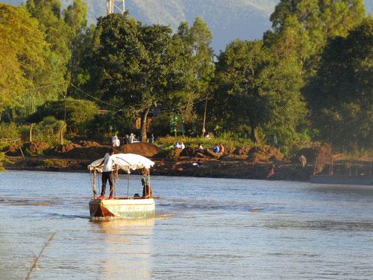 Äthiopien, Menschen, Kinder, Fähre Tisissat, blauer Nil