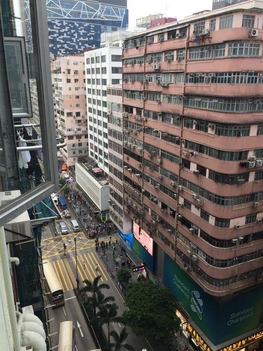 Blick vom Hotelfenster aus dem 14. Stock