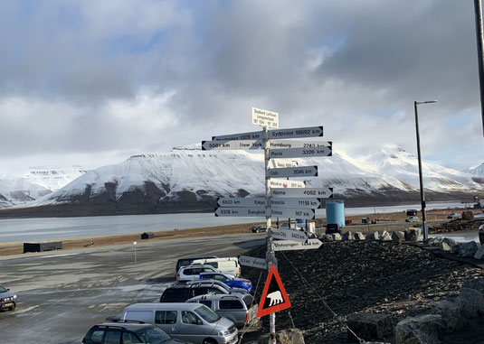 Longyearbyen, Spitzbergen, Svalbard, Wegweiser
