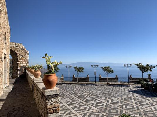 Italien, Sizilien, Sehenswürdigkeit, Taormina, Castelmola, Serpentine, Aussicht, Belvedere