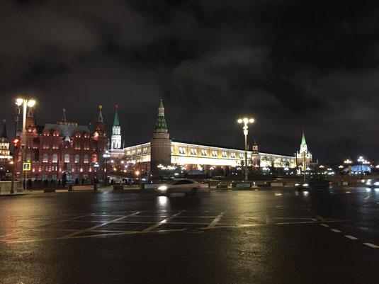 Moskau, Historisches Museum, Kreml bei Nacht