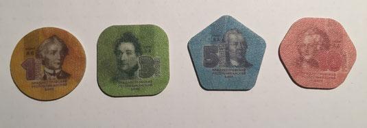 Transnistrische Rubel Münzen aus Plastik