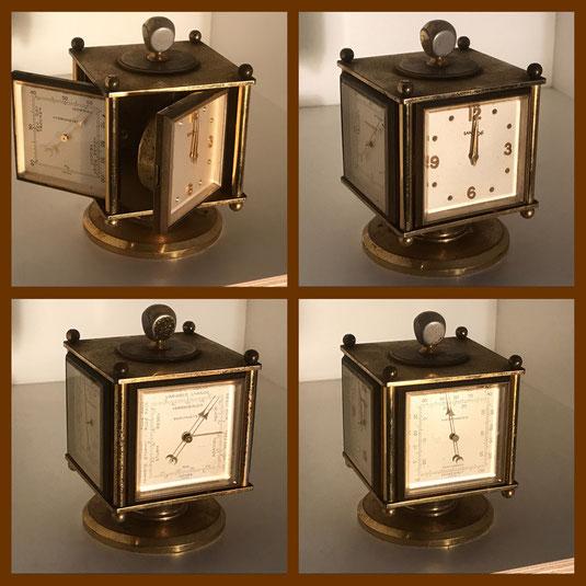Viereckige drehbare Imhof Stil Tischuhr mit Uhr, Hygrometer, Barometer und Temperaturanzeige. Foto: www.collage-gallery.de
