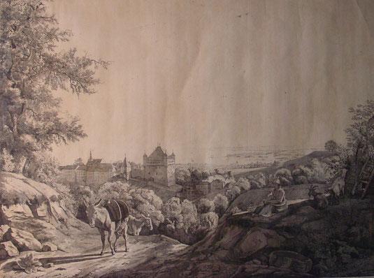 Lausanne, château Saint- Maire, tableaux vaudois, Lausanne vue par les peintres, Jean-Victor BERTIN, la cité, Lardy, Cité