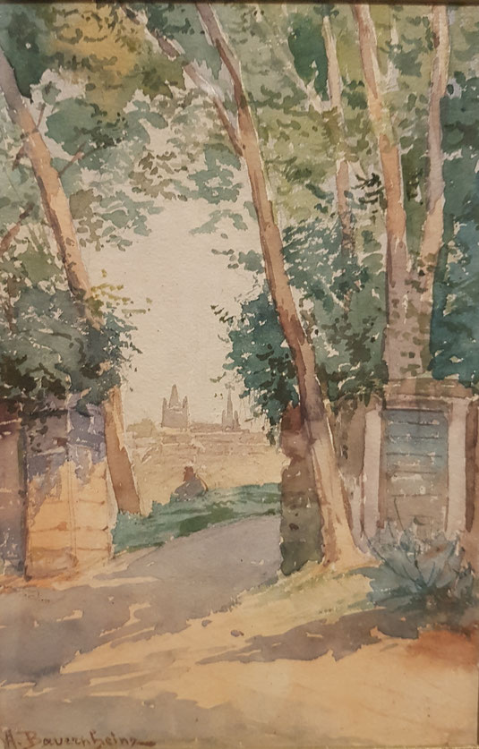 Lausanne, château Saint- Maire, tableaux vaudois, Lausanne vue par les peintres, Jean-Victor BERTIN, la cité, la cathédrale, Auguste BAUERNHEINZ
