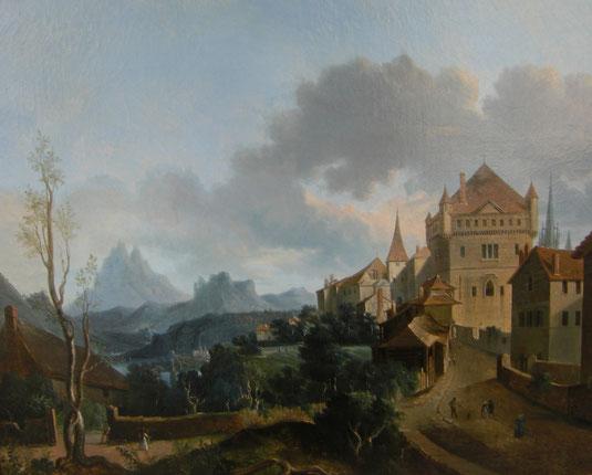 Lausanne, château Saint- Maire, tableaux vaudois, Lausanne vue par les peintres, Jean-Victor BERTIN, la cité
