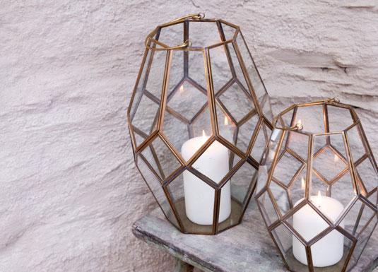 Design Kerzenhalter Windlicht auf Kupfer und Glas Geometrie