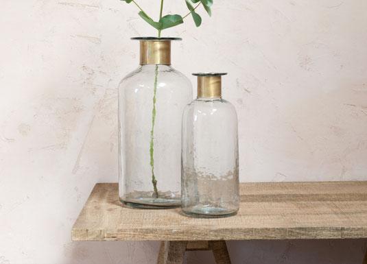 Premium Design gehämmerte Glasvase mit Goldrand Vase Blumenvase