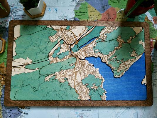 Luzern 3D Design Wood Map Karte aus Holz Stadtkarte gelasert Holzkarte Retro Deko Geschenk